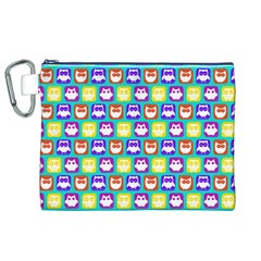 Colorful Whimsical Owl Pattern Canvas Cosmetic Bag (XL)