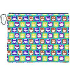 Colorful Whimsical Owl Pattern Canvas Cosmetic Bag (XXXL)