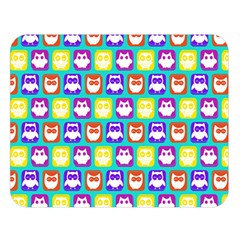 Colorful Whimsical Owl Pattern Double Sided Flano Blanket (Large)