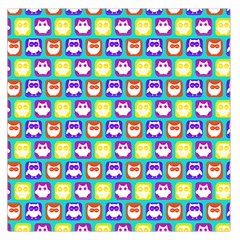 Colorful Whimsical Owl Pattern Large Satin Scarf (Square)