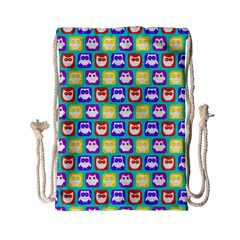 Colorful Whimsical Owl Pattern Drawstring Bag (small)