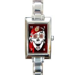 Funny Happy Skull Rectangle Italian Charm Watches