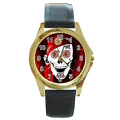 Funny Happy Skull Round Gold Metal Watches