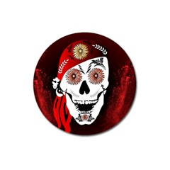 Funny Happy Skull Magnet 3  (Round)