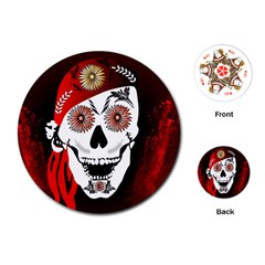 Funny Happy Skull Playing Cards (round)