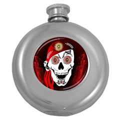 Funny Happy Skull Round Hip Flask (5 oz)