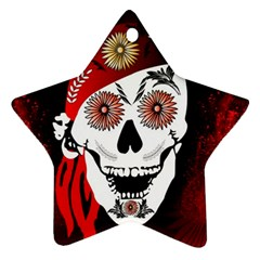Funny Happy Skull Star Ornament (Two Sides)