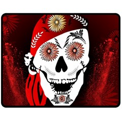 Funny Happy Skull Double Sided Fleece Blanket (Medium)
