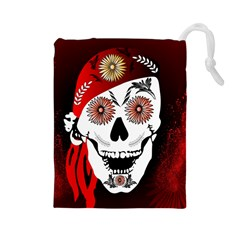 Funny Happy Skull Drawstring Pouches (Large)