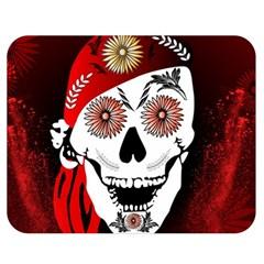 Funny Happy Skull Double Sided Flano Blanket (Medium)