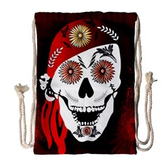 Funny Happy Skull Drawstring Bag (Large)