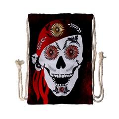 Funny Happy Skull Drawstring Bag (Small)