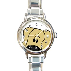 Peeping Fawn Great Dane With Undocked Ears Round Italian Charm Watches