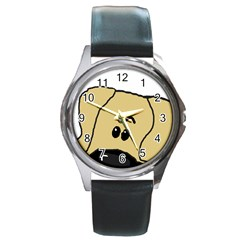 Peeping Fawn Great Dane With Undocked Ears Round Metal Watches