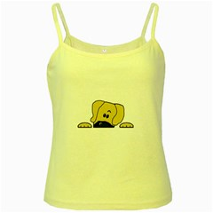 Peeping Fawn Great Dane With Undocked Ears Yellow Spaghetti Tanks