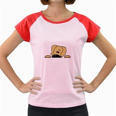 Peeping Fawn Great Dane With Undocked Ears Women s Cap Sleeve T-Shirt