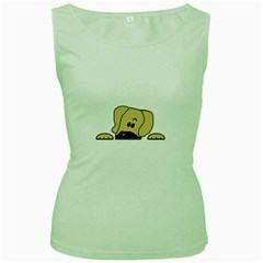 Peeping Fawn Great Dane With Undocked Ears Women s Green Tank Tops