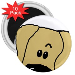 Peeping Fawn Great Dane With Undocked Ears 3  Magnets (10 pack)