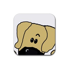 Peeping Fawn Great Dane With Undocked Ears Rubber Square Coaster (4 pack)