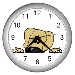 Peeping Fawn Great Dane With Undocked Ears Wall Clocks (Silver)