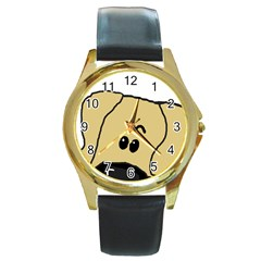 Peeping Fawn Great Dane With Undocked Ears Round Gold Metal Watches