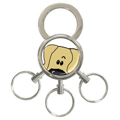 Peeping Fawn Great Dane With Undocked Ears 3-Ring Key Chains