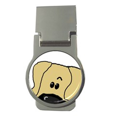Peeping Fawn Great Dane With Undocked Ears Money Clips (Round)