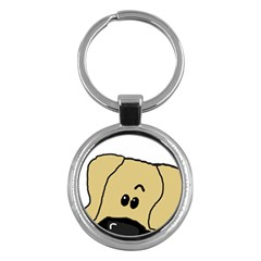 Peeping Fawn Great Dane With Undocked Ears Key Chains (Round)