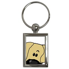 Peeping Fawn Great Dane With Undocked Ears Key Chains (Rectangle)