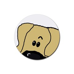 Peeping Fawn Great Dane With Undocked Ears Rubber Coaster (Round)
