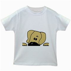 Peeping Fawn Great Dane With Undocked Ears Kids White T-Shirts