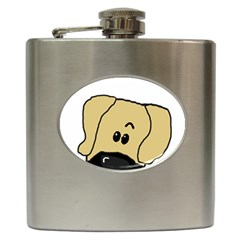 Peeping Fawn Great Dane With Undocked Ears Hip Flask (6 oz)