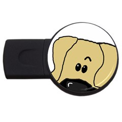 Peeping Fawn Great Dane With Undocked Ears USB Flash Drive Round (2 GB)
