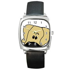 Peeping Fawn Great Dane With Undocked Ears Square Metal Watches
