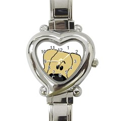 Peeping Fawn Great Dane With Undocked Ears Heart Italian Charm Watch