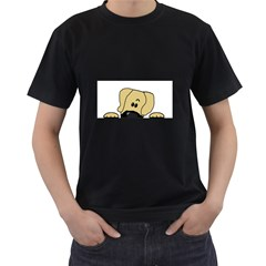 Peeping Fawn Great Dane With Undocked Ears Men s T-Shirt (Black) (Two Sided)
