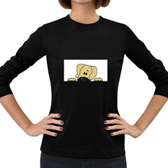 Peeping Fawn Great Dane With Undocked Ears Women s Long Sleeve Dark T-Shirts