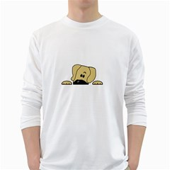 Peeping Fawn Great Dane With Undocked Ears White Long Sleeve T-Shirts