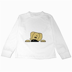 Peeping Fawn Great Dane With Undocked Ears Kids Long Sleeve T-Shirts