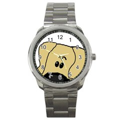 Peeping Fawn Great Dane With Undocked Ears Sport Metal Watches