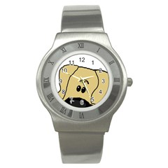 Peeping Fawn Great Dane With Undocked Ears Stainless Steel Watches