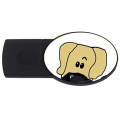 Peeping Fawn Great Dane With Undocked Ears USB Flash Drive Oval (4 GB)