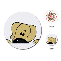Peeping Fawn Great Dane With Undocked Ears Playing Cards (Round)