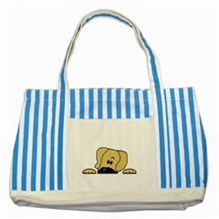 Peeping Fawn Great Dane With Undocked Ears Striped Blue Tote Bag