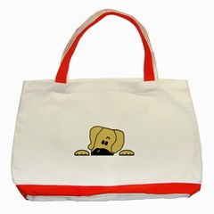 Peeping Fawn Great Dane With Undocked Ears Classic Tote Bag (Red)