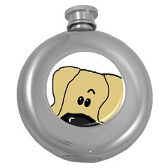 Peeping Fawn Great Dane With Undocked Ears Round Hip Flask (5 oz)