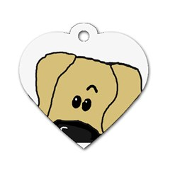 Peeping Fawn Great Dane With Undocked Ears Dog Tag Heart (Two Sides)