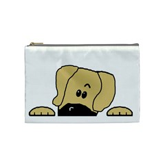 Peeping Fawn Great Dane With Undocked Ears Cosmetic Bag (Medium)