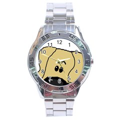 Peeping Fawn Great Dane With Undocked Ears Stainless Steel Men s Watch