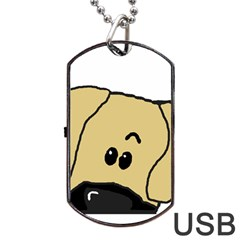 Peeping Fawn Great Dane With Undocked Ears Dog Tag USB Flash (One Side)